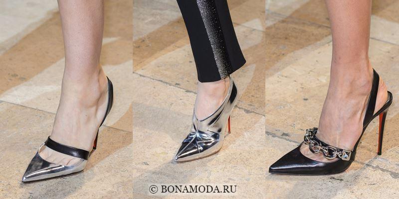 Модные женские туфли осень-зима 2017-2018: черные и серебряные с острым мыском на шпильке