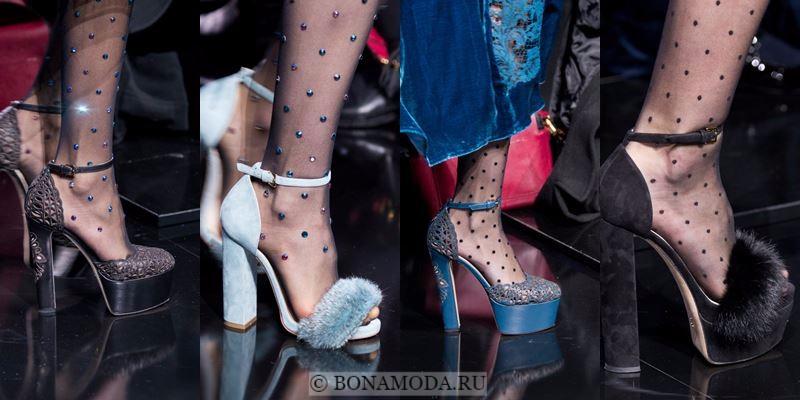 Модные женские туфли осень-зима 2017-2018: замшевые, кружевные, с меховым декором на высоком толстом каблуке