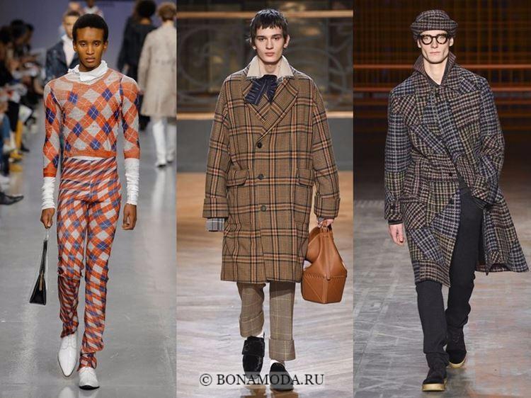 Мужская мода осень-зима 2017-2018: бежевая, серая и оранжевая клетка