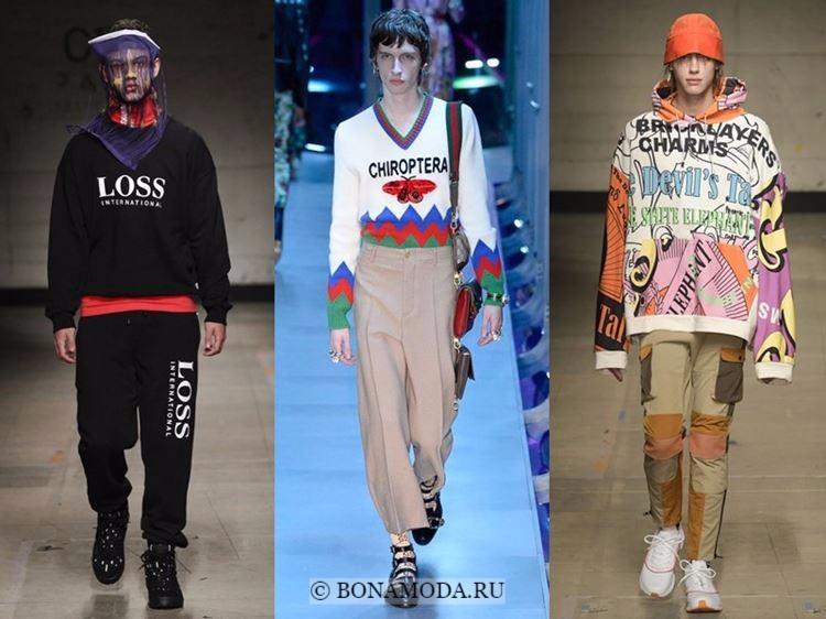 Мужская мода осень-зима 2017-2018: свитера и худи с надписями
