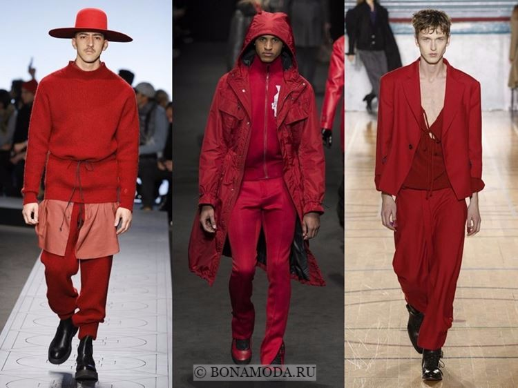 Мужская мода осень-зима 2017-2018: красный цвет одежды