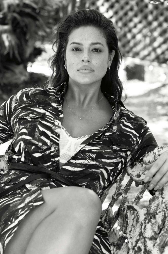 Плюс сайз модель Эшли Грэм в фотосессии Elle France - платье чб фото