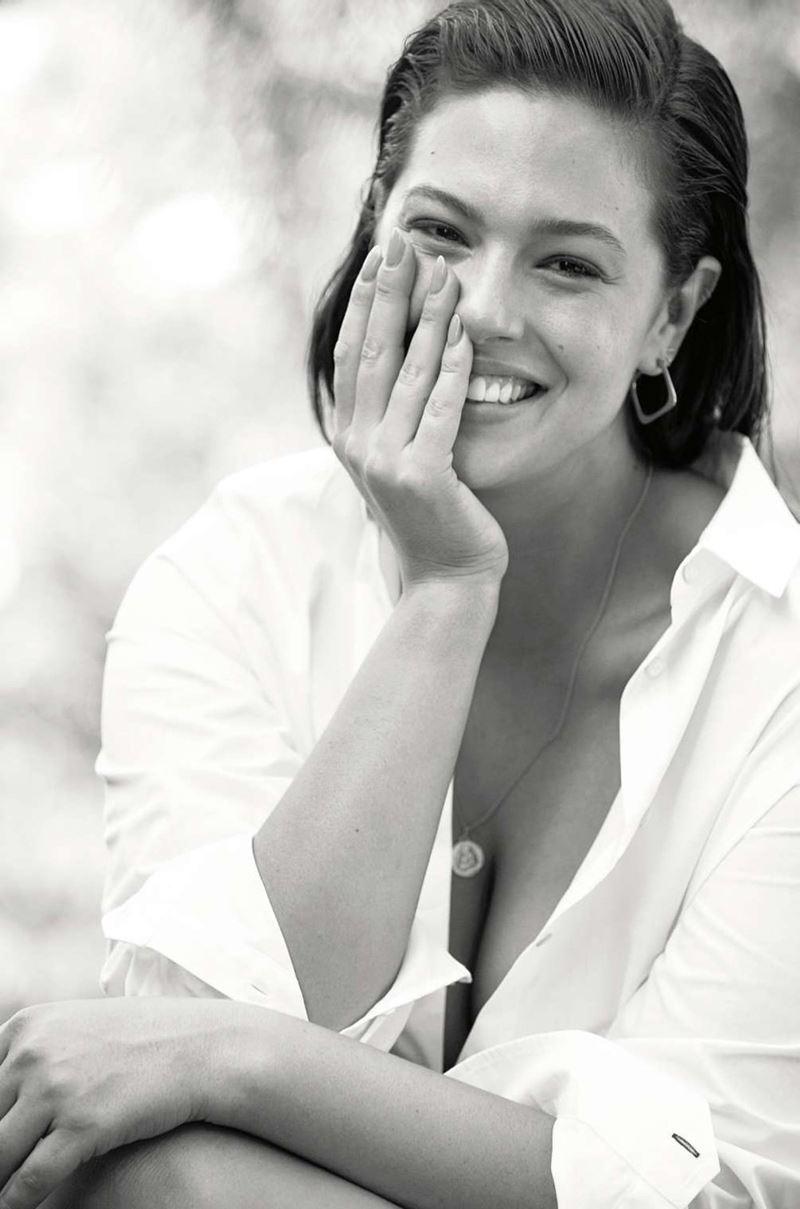 Плюс сайз модель Эшли Грэм в фотосессии Elle France - белая рубашка