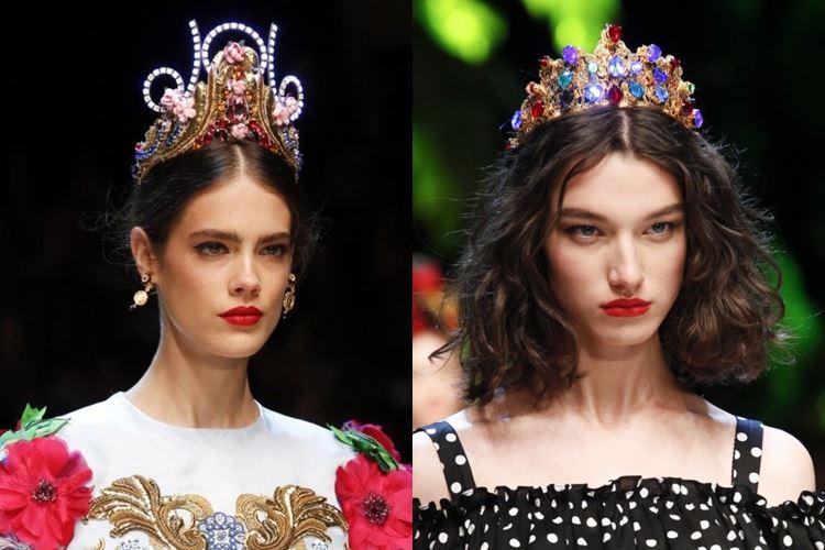 Dolce&Gabbana весна-лето 2017 - яркие диадемы в славянском стиле