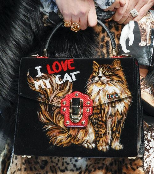 Сумки Dolce&Gabbana осень-зима 2017-2018: черная с рисунком кошкой