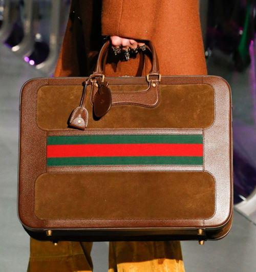 Сумки Gucci осень-зима 2017-2018: коричневый замшевый портфель