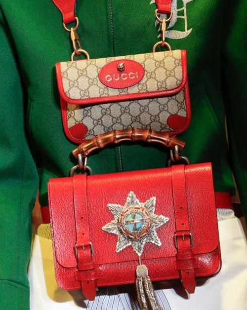 Сумки Gucci осень-зима 2017-2018: красный портфель на поясе