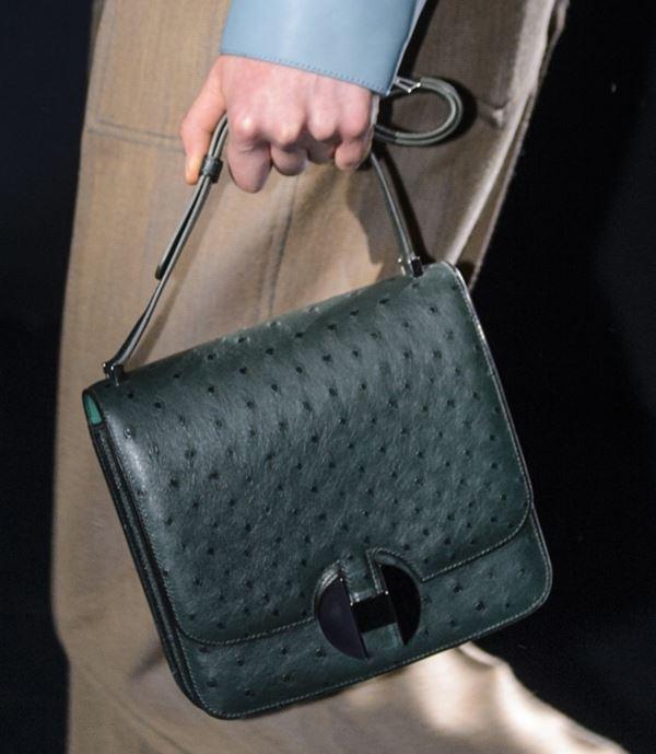 Сумки Hermès осень-зима 2017-2018: темно-зеленая страусиная кожа