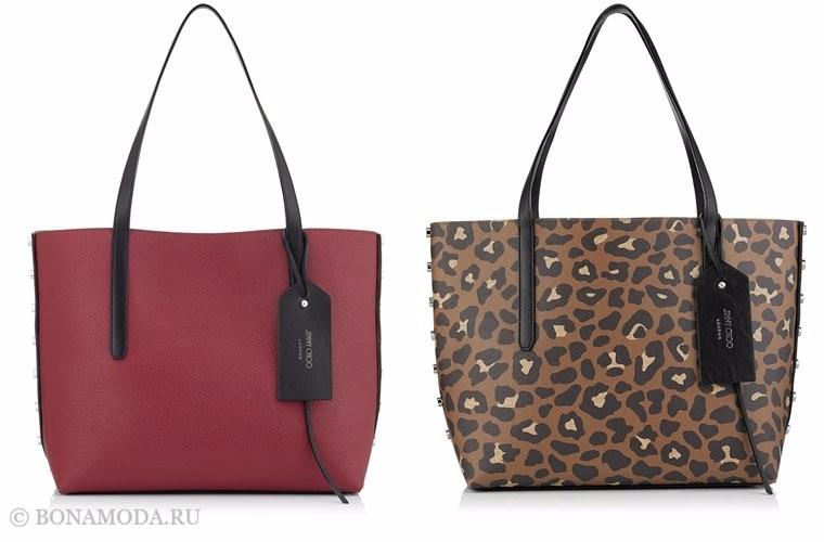 Сумки Jimmy Choo осень-зима 2017-2018: красная и леопардовая кожаная тоут шоппер