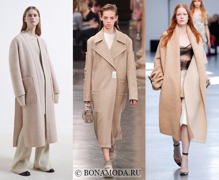 Верхняя одежда осень-зима 2017-2018: бежевые пальто