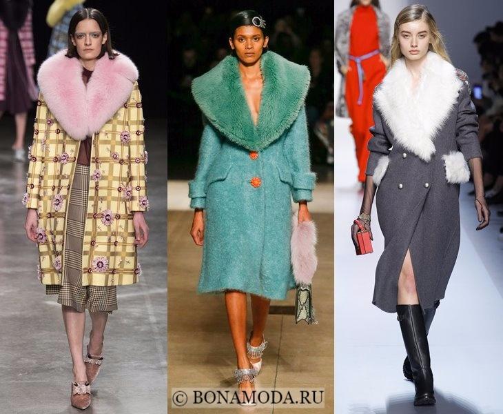 Верхняя одежда осень-зима 2017-2018: пальто с меховым воротником