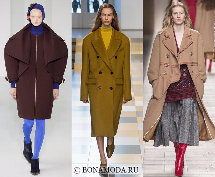 Верхняя одежда осень-зима 2017-2018: пальто с широкими плечами
