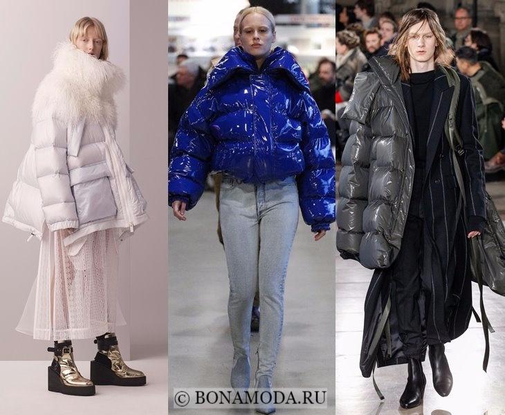 Верхняя одежда осень-зима 2017-2018: белый, синий и серый пуховик