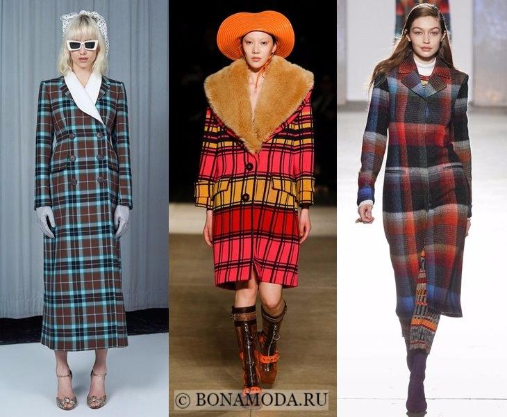 Верхняя одежда осень-зима 2017-2018: цветные клетчатые пальто