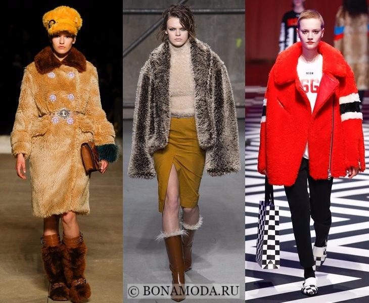 Верхняя одежда осень-зима 2017-2018: бежевая и красная шуба из искусственного меха