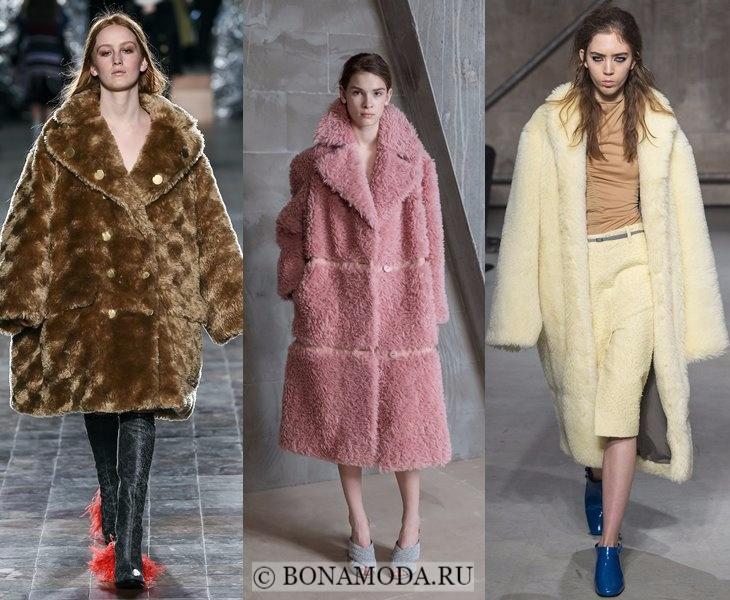 Верхняя одежда осень-зима 2017-2018: бежевая, розовая и желтая шуба из искусственного меха
