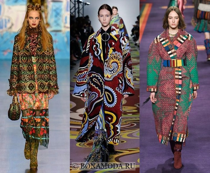 Верхняя одежда осень-зима 2017-2018: этнический принт для пальто