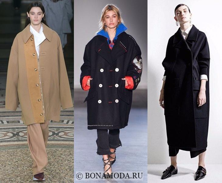 Верхняя одежда осень-зима 2017-2018: бежевое и черое пальто оверсайз