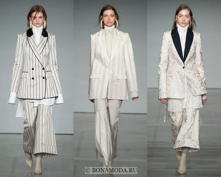 Женские брючные костюмы осень-зима 2017-2018: Zimmermann - белые в полоску с кюлотами