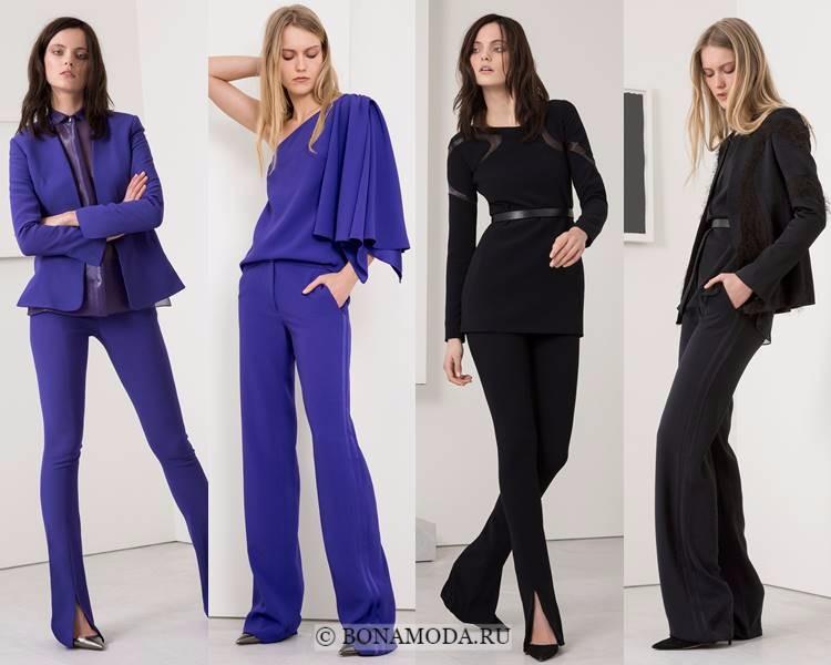 Женские брючные костюмы осень-зима 2017-2018: Jeffrey Dodd - фиолетовые и черные
