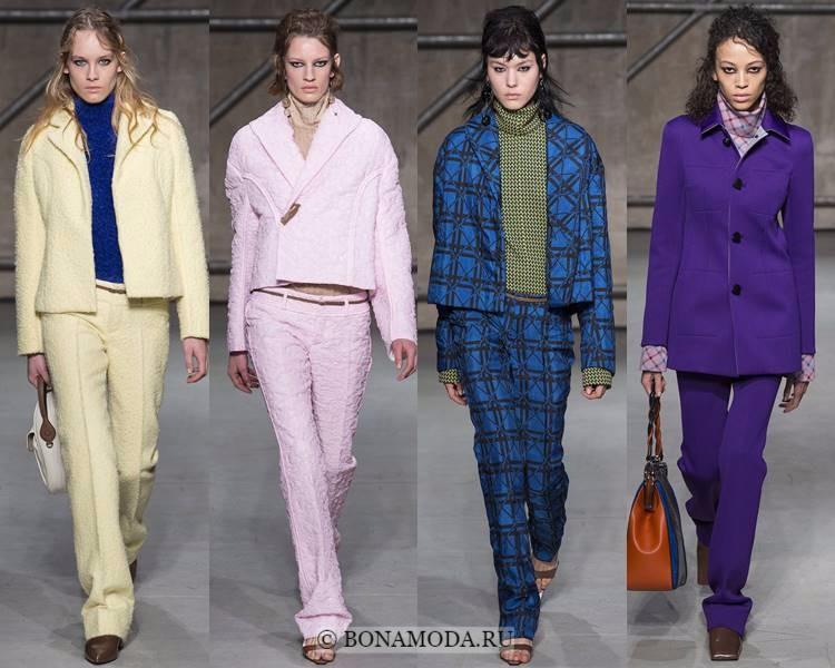 Женские брючные костюмы осень-зима 2017-2018: Marni - жёлтые, розовые, синие и фиолетовые