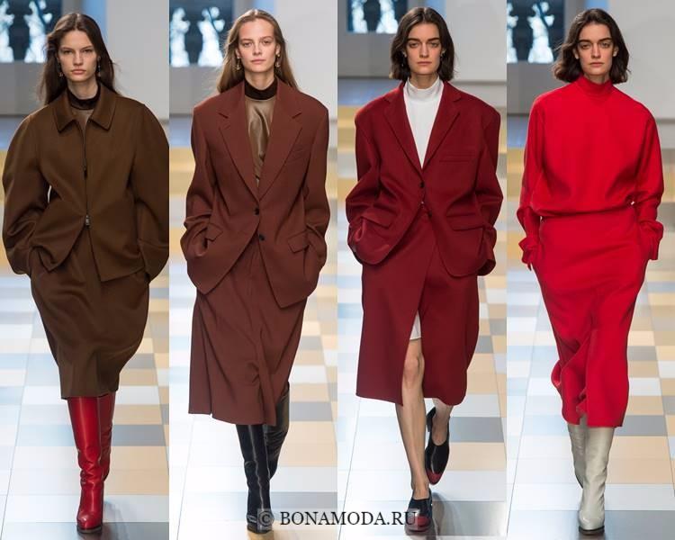 Женские костюмы с юбкой осень-зима 2017-2018: Jil Sander - красные и коричневые