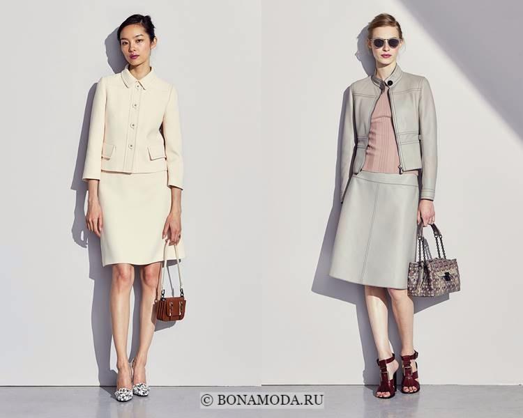 Женские костюмы с юбкой осень-зима 2017-2018: Bottega Veneta - ванильный и серый