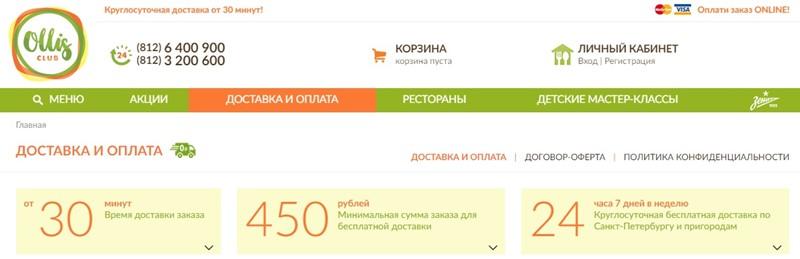 Доставка еды в Санкт-Петербурге: «Ollis Club» - круглосуточная и бесплатная доставка