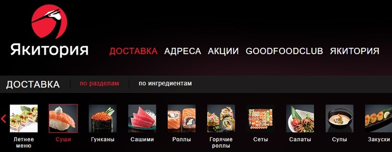 Доставка суши в Москве: «Якитория» - рестораны с доставкой