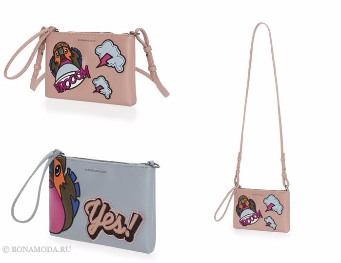Коллекция сумок Mandarina Duck осень-зима 2017-2018: плоские клатчи с патчами