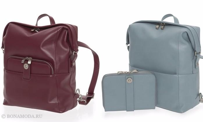 Коллекция сумок Mandarina Duck осень-зима 2017-2018: темно-красная и серо-голубая кожаные дорожные