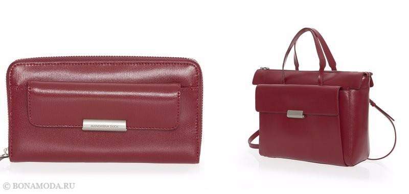 Коллекция сумок Mandarina Duck осень-зима 2017-2018: красные кожаные с карманами