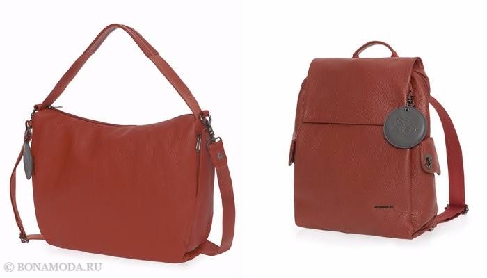 Коллекция сумок Mandarina Duck осень-зима 2017-2018: оранжевая хобо и кожаный рюкзак