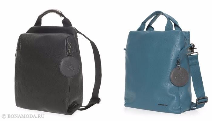 Коллекция сумок Mandarina Duck осень-зима 2017-2018: черный и бирюзовый кожаный рюкзак