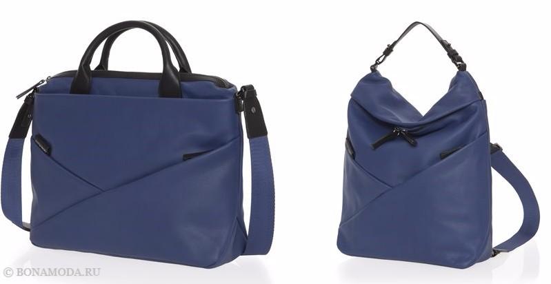Коллекция сумок Mandarina Duck осень-зима 2017-2018: темно-синие кожаные на длинном ремешке