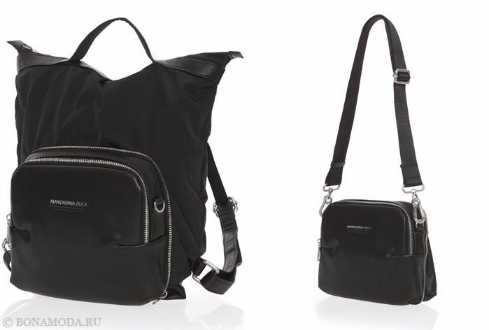 Коллекция сумок Mandarina Duck осень-зима 2017-2018: черные кожаные через плечо на длинном ремешке