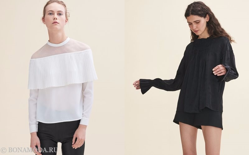 Лукбук коллекции Maje осень-зима 2017-2018: белый и черный топ с длинными рукавами
