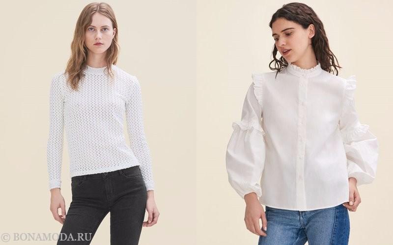 Лукбук коллекции Maje осень-зима 2017-2018: белый трикотажный тои и блузка с пышными рукавами