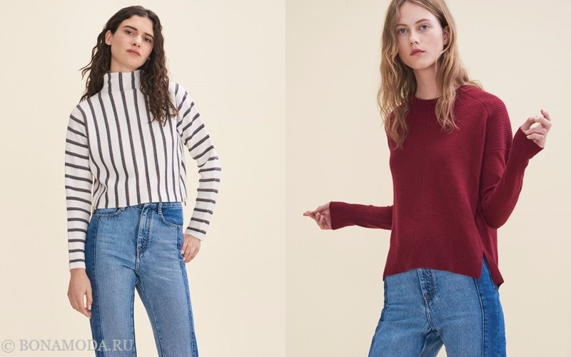 Лукбук коллекции Maje осень-зима 2017-2018: полосатый топ и красный трикотажный свитер с джинсами
