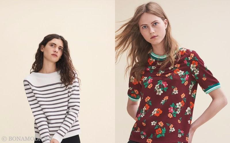 Лукбук коллекции Maje осень-зима 2017-2018: полосатый топ и футболка с цветочным принтом
