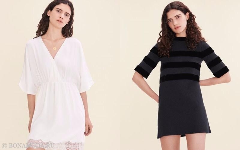Лукбук коллекции Maje осень-зима 2017-2018: белая приталенная туника и короткие черное платье с длинным рукавом