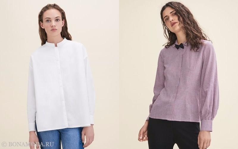 Лукбук коллекции Maje осень-зима 2017-2018: белая и сиреневая блузка с длинным рукавом