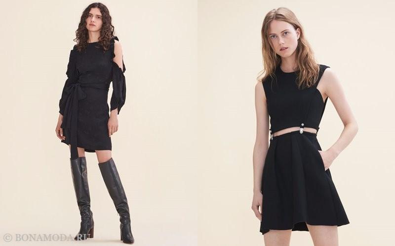 Лукбук коллекции Maje осень-зима 2017-2018: черные платья короткие с вырезами