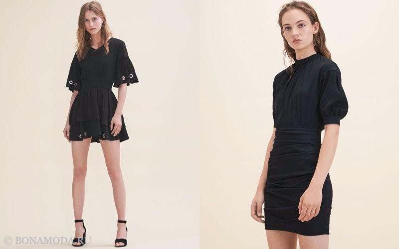 Лукбук коллекции Maje осень-зима 2017-2018: короткие черные платья с пышными рукавами