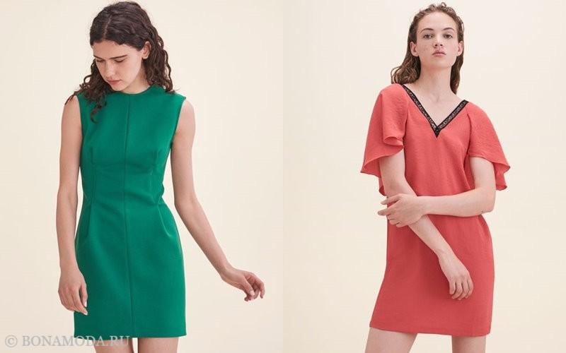 Лукбук коллекции Maje осень-зима 2017-2018: зеленое и оранжевое короткое платье без рукавов
