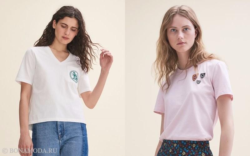 Лукбук коллекции Maje осень-зима 2017-2018: белая и розовая футболка-топ