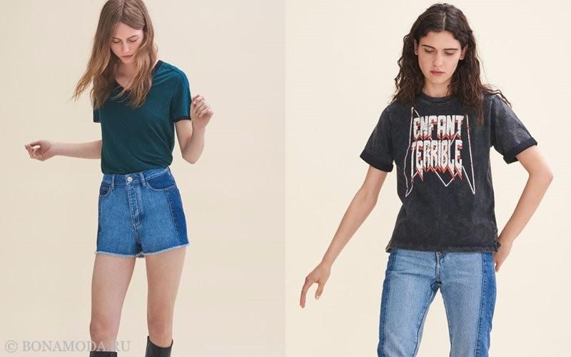 Лукбук коллекции Maje осень-зима 2017-2018: синяя и серая футболка-топ с джинсами и шортами из денима