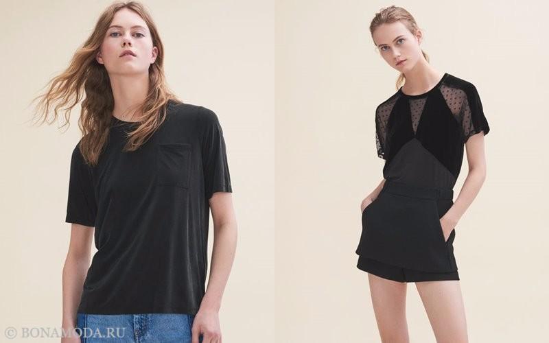 Лукбук коллекции Maje осень-зима 2017-2018: черная футболка и короткое платье