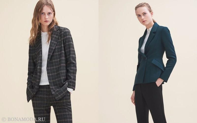 Лукбук коллекции Maje осень-зима 2017-2018: клетчатый деловой костюм и приталенный жакет