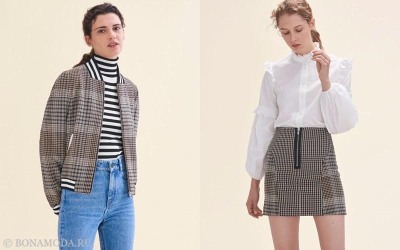 Лукбук коллекции Maje осень-зима 2017-2018: клетчатая куртка с джинсами и мини-юбка с белой блузкой
